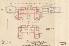 Dryden, Henry E L, Drawing of plan of Rousham House
