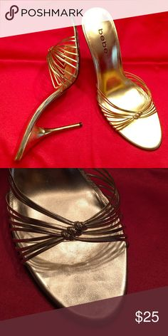 Evening Shoe Bebe gold evening sandal with gold metal heel bebe Shoes Sandals