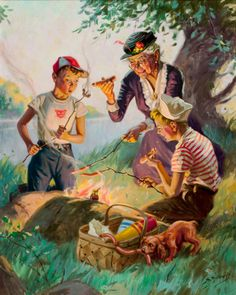 View Grandma at the weenie roast by Henry Hy Hintermeister on artnet. Browse upcoming and past auction lots by Henry Hy Hintermeister. Art And Illustration, Posters Vintage, Vintage Images, Vintage Art, Images Gif, Norman Rockwell, Caricatures, Vintage Children, Belle Photo