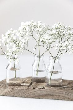 Subtle and romantic: Decorate a vase or a bouquet with your baby's breath Bud Vases, Flower Vases, Wall Vases, Glass Flowers, White Flowers, Beautiful Flowers, Rose Flowers, Simply Beautiful, Beautiful Things