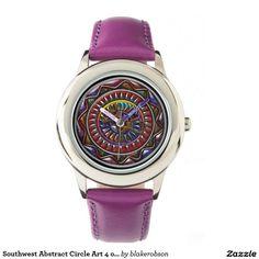 Southwest Abstract Circle Art 4 of 4 Wrist Watch