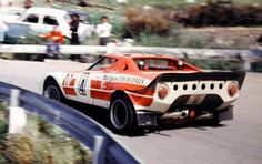 Sandro Munari's and Jean-Claude Andruets's Lancia Stratos HF that took them to second place in the 1973 Targa Florio. Martini Racing, Classic European Cars, Classic Cars, Sports Car Racing, Sport Cars, Gt Cars, Race Cars, Le Mans, Monte Carlo