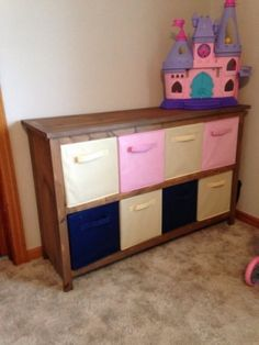Bookshelf Cubby for Fabric Drawers DIY