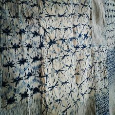 Wall of shibori.  From srithreads