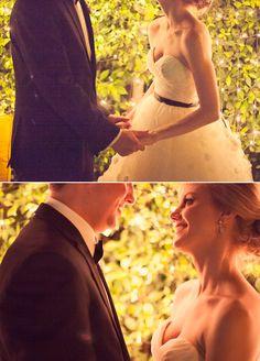 romantic twinkle light wedding portrait