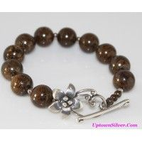Silpada Jewelry Brown Bronzite Bead 925 Sterling Silver Flower ..