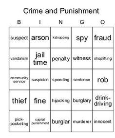 EFL Vocabulary game – Vocabulary Bingo – Crime andPunishment