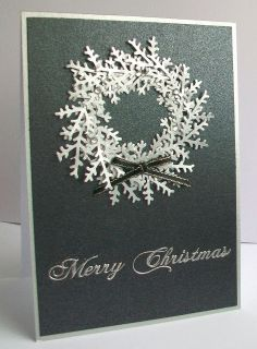 handmade Christmas card from Viv's Visuals ... silver and white ... wreath of layered punched branches ... elegant beauty!