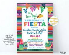 Teacher Appreciation Invitation Let's Taco bout an Appreciation Fiesta – Rainy Lain Designs Lunch Invitation, Invitation Wording, Invite, Printable Invitation Templates, Digital Invitations, Birthday Invitations, Nachos, Teacher Appreciation Luncheon, Papel Picado