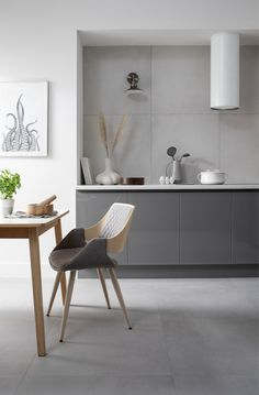 Create a spacious and luxurious statement with Gemini Tiles' sophisticated new Loft collection Grey Kitchen Tiles, Kitchen Design, Large Format Tile, Tiles Texture, Neutral Colour Palette, Porcelain Tile, Gemini, Office Desk, Living Spaces