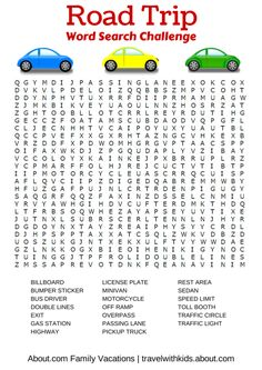 Bye-Bye Boredom! Free Print & Play Car Games: Road Trip Word Search