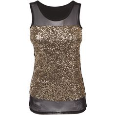 Black chiffon cami top with gold sequins all over the front. Accessories stylists own. Size me up: back neck to hem: 63 cm. Size range: uk 8 - 14. Model height…