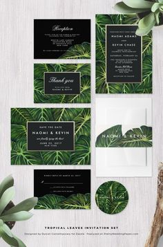 Tropical Leaves Botanical Green Wedding Invitation Collection designed by Dulcet Contemporary. ♥ Repinned by Annie @ http://www.perfectpostage.com