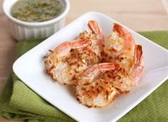 Baked coconut shrimp with a spicy pineapple dipping sauce. Healthy, easy, delicious.
