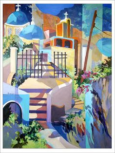 Artists Of Texas Contemporary Paintings and Art - Santorini Cliff Hangers