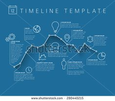 Vector Infographic timeline report template with minimalistic graph - stock vector