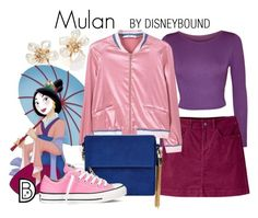 """Mulan"" by leslieakay ❤ liked on Polyvore featuring Kenneth Jay Lane, Disney, WearAll, Mountain Khakis, MANGO, New Look, Converse, disney, disneybound and disneycharacter"