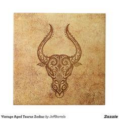 Shop Vintage Aged Taurus Zodiac Ceramic Tile created by JeffBartels. Taurus Symbol Tattoo, Taurus Symbols, Aquarius Constellation Tattoo, Capricorn Tattoo, Zodiac Sign Tattoos, Geometric Arrow Tattoo, Tattoo Arrow, Virgo Tattoo Designs, Zodiac Signs Taurus
