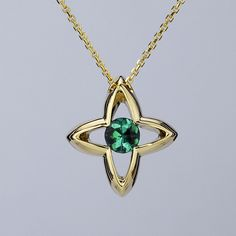 Sea Cross Necklace in 14K Yellow Gold - Green Maine Tourmaline also available with Pink Maine Tourmaline!