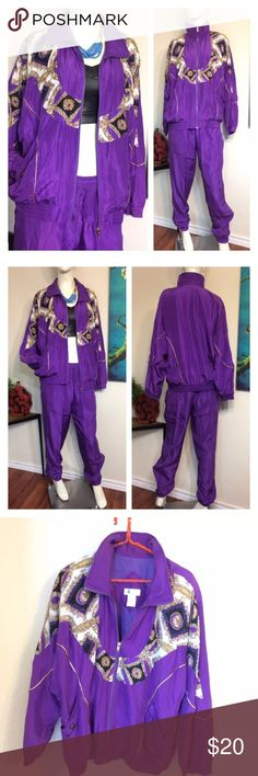 "Vtg 80s Purple Gold Beaded Windbreaker TRACK SUIT Fabulous 80s track suit only flaw is about an inch & a half area on front under elastic waist where seam is loose ( see last photo)  Perfect #80's #party #Mob Wives 100% silk purple w beaded gold & purple detail & gold piping over an antique roman print collar.  Approx measurements laid flat-(double where necessary) JACKET- Shoulder to shoulder: 21"" Underarm to underarm: 25"" Waist: 23"" Hips: 18.5"" Shoulder to hem: 26"" Sleeve: 21.5"" PANTS…"