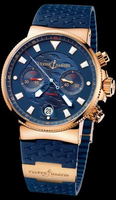 ❦ Ulysse Nardin Swiss Watch Manufacturer Since 1846: 356-68LE-3 • Blue Seal (Maxi Marine Chronograph) • Marine Collection •