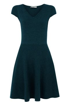Fit and Flare Knitted Dress | Blue | Oasis Stores