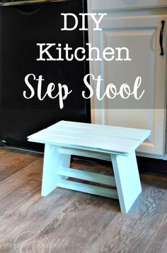 DIY Step Stool - learn how to make this handy, little step stool for your kitchen with leftover wood scraps