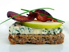 Danish Blue Cheese and Apple with Bacon Smorrebrod.