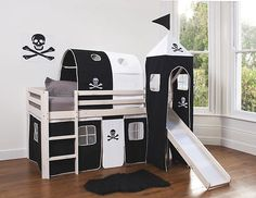 Cabin Bed Mid Sleeper Wooden Bunk White wood with Pirate Design & Slide | eBay