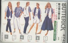 Misses Top, Skirt, Shorts, Pants, Vest Sewing Pattern Butterick 4742 Size 16-22 UNCUT  Vintage 90's