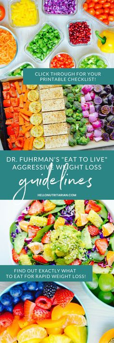 """Dr. Fuhrman Eat to Live Nutritarian Guidelines for Aggressive Weight Loss -- Did you know that Dr. Fuhrman has several different protocols under his nutritarian umbrella?  Well, this one is by-far his most effective!  These Aggressive Weight Loss Guidelines are from his book """"Eat to Live"""" and they make up the 6-week plan!  I personally lost over 21 pounds in 6 weeks following these guidelines!  Click through to print them out and get a free daily checklist too!  xo, Kristen"""