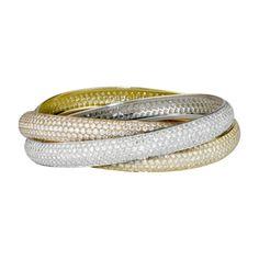 Bracelet GM 3 ors 18 carats, grand modèle, pavé de diamants blancs.