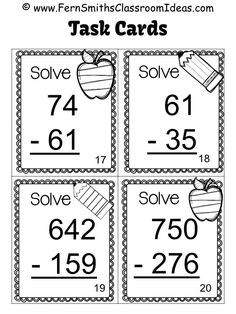 Sample of Black and White Task Cards Included in Subtraction of Multi-Digit Whole Numbers Within 1000 Task Cards and Recording Sheet, Answer Key Included #TPT {Go Math, Third Grade, Chapter One and Go Math, Fourth Grade, Chapter One.}