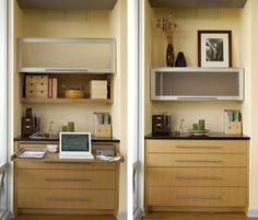 A space saving work station that has doors and shelves that can be obscured with ease, as in the image on the right.