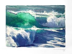 """Double Barrel"" Original Oil on Paper — Wade Koniakowsky Paper News, Double Barrel, Ocean Waves, Oil Paintings, Watercolor Paper, Impressionist, Surfing, The Originals, School"