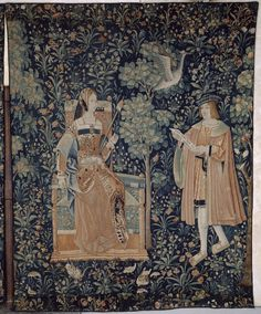 The Lecture: (learning while spinning?)  La Vie seigneuriale: 1 of 6 tapestries depicting idealized manorial life. Low Countries, c. 1500. Paris, Musée de Cluny, Cl 2182
