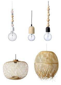 Lámparas con madera y bambú. Catálogo primavera-verano 2014 de Bloomingville • Bamboo  wooden lamps, bloomingville
