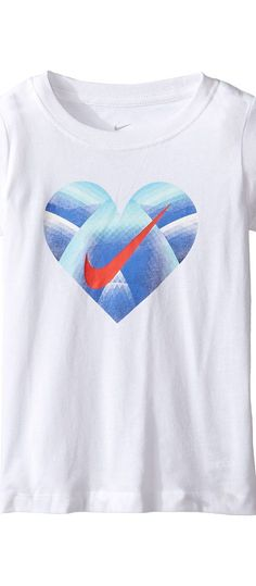 Nike Kids Step Gradient Heart Core Short Sleeve Tee (Toddler) (White) Girl's T Shirt - Nike Kids, Step Gradient Heart Core Short Sleeve Tee (Toddler), 26B969G-100, Apparel Top Shirt, T Shirt, Top, Apparel, Clothes Clothing, Gift, - Fashion Ideas To Inspire