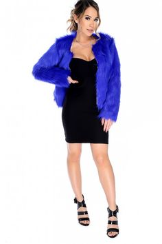 Sexy Royal Blue Long Sleeve Open Front Shaggy Faux Fur Jacket