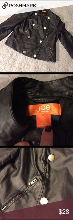 Joe Fresh Faux Leather Jacket Lined, double-breasted faux leather jacket.  I found this jacket to be lighter and look more like leather. Worn maybe twice and I. Great condition. Joe Fresh Jackets & Coats Blazers