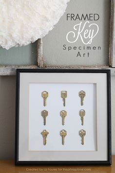 Framed Key Specimen Art - perfect for the keys to your first home, car, etc.! | Details at LoveGrowsWild.com