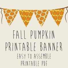 Fall Pumpkin Autumn Party Banner Printable PDFs by Galactytes, $1.99