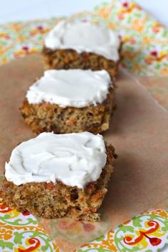 Carrot and Zucchini Bars With Cream Cheese Frosting (hides carrot and zucchini)