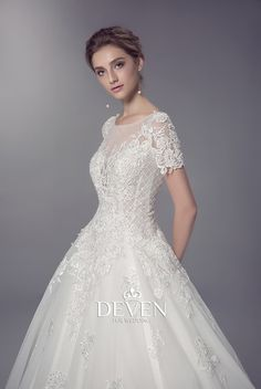 Short Sleeves Beaded Lace Applique Ball Gown Wedding Dress