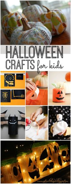 "Halloween crafts for Kids to Make. ""When I was a kid, Halloween was strictly a starchy-vegetable-only holiday, with pumpkins and Indian corn on the front stoop; there was nothing electric, nothing. Halloween Crafts For Kids, Halloween Activities, Holidays Halloween, Halloween Treats, Holiday Crafts, Holiday Fun, Happy Halloween, Halloween Decorations, Costumes"