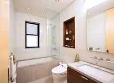 tub shower combo in Bathroom Modern with contemporary backsplash