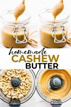 Homemade cashew butter than you can make over and over again! So simple, healthy, and delicious! Low Carb Recipes, Vegan Recipes, Cooking Recipes, Blender Recipes, Snack Recipes, Vegan Sauces, Free Recipes, Breakfast Recipes, Homemade Nut Butter Recipes