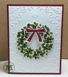 Stampin' Mojo - Michelle Gleeson, Stampin' Up! Demonstrator - Where my creative mojo is displayed and shared with other paper and stamping enthusiasts. Christmas Tree Wreath, Christmas Ideas, Christmas Crafts, Christmas Decorations, Xmas, Hand Made Greeting Cards, Making Greeting Cards, Maria Moore, Wondrous Wreath