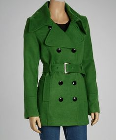Take a look at this Emerald Belted Peacoat - Women by KC Collections on #zulily today!