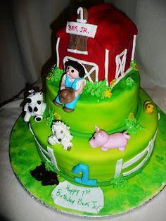 www.RoxanasCakes.com: Farm Theme Birthday Cake First Birthday